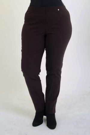 Lady wearing Robell chocolate trousers