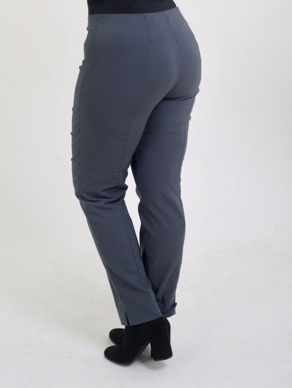 Women wearing Robell stretch trousers Slate grey back view