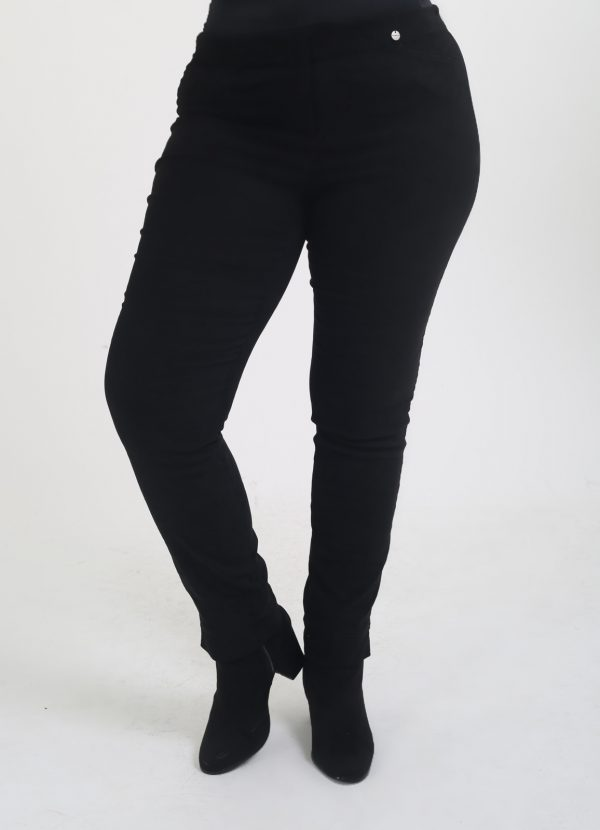 Woman is wearing navy stretch trousers by Robell