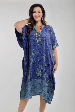 Model wearing fish kaftan 2 tone by Angel Circle