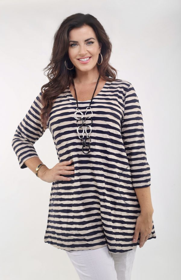 Woman wearing Melina jersey stripe tunic with pockets in Navy and Sand by Pont Neuf Pardon Clothing