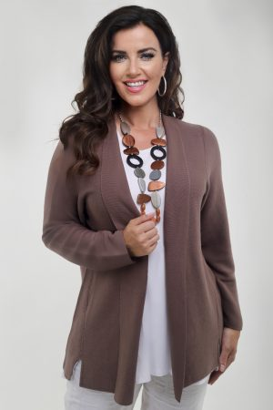 Woman wearing taupe edge to edge cardi by Via Appia