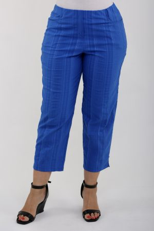 Lady wearing cobalt summer crops by K J Brand