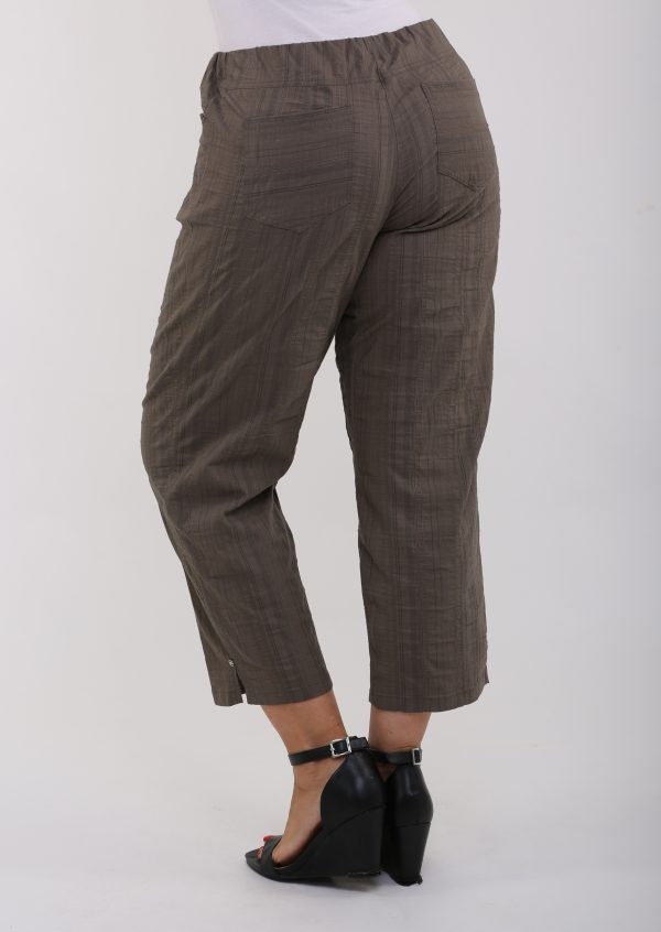 Lady modelling back view of khaki summer crops by KJ Brand