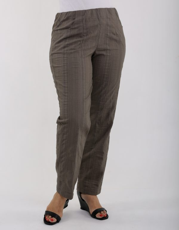 lady wearing khaki cool summer trousers by KJ Brand