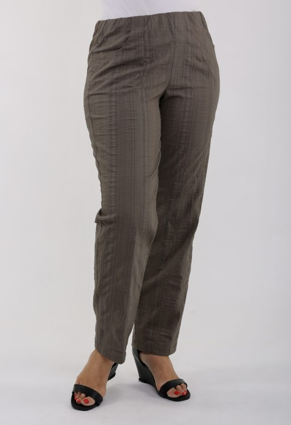 lady wearing khaki summer trousers by KJ Brand