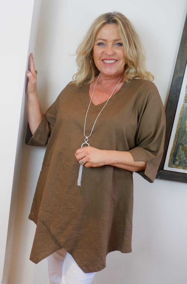 Woman wearing Tessie 100% linen top in khaki by Kasbah Clothing