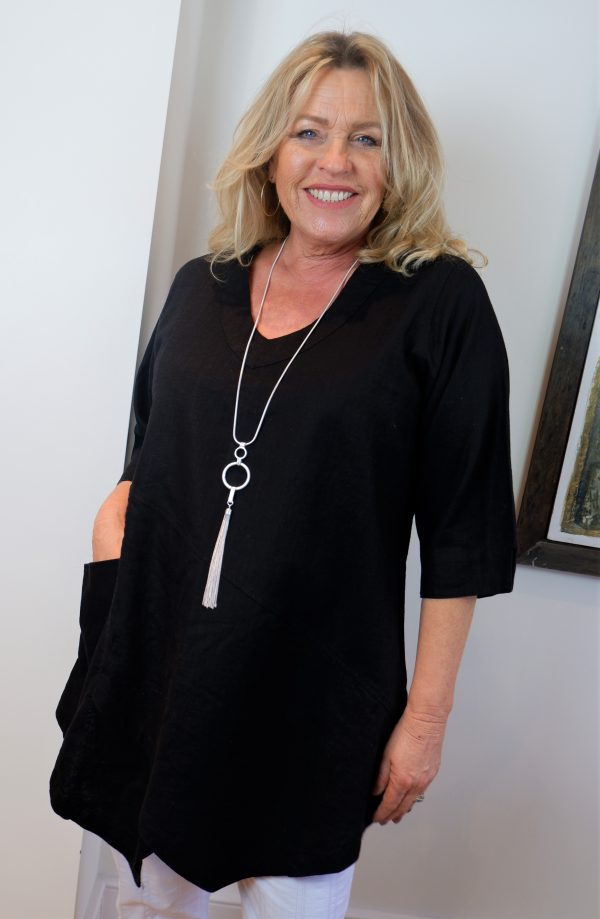 model wearing Kasbah Clothing Tessie linen top in black
