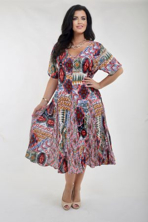 Woman wearing crinkle Rayon dress called Santiago by Orientique Australia