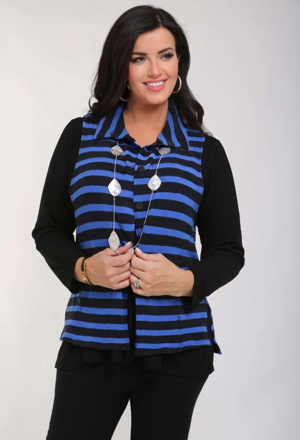 Model is wearing cotton knit striped waistcoat in cobalt/black by Vetono