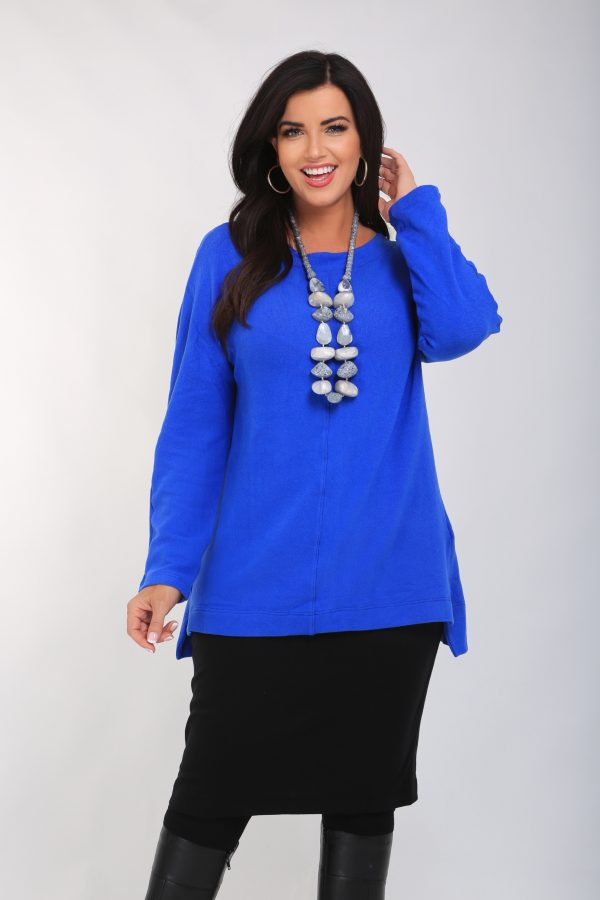 woman is wearing cotton stretch knit cobalt tunic by Vetono