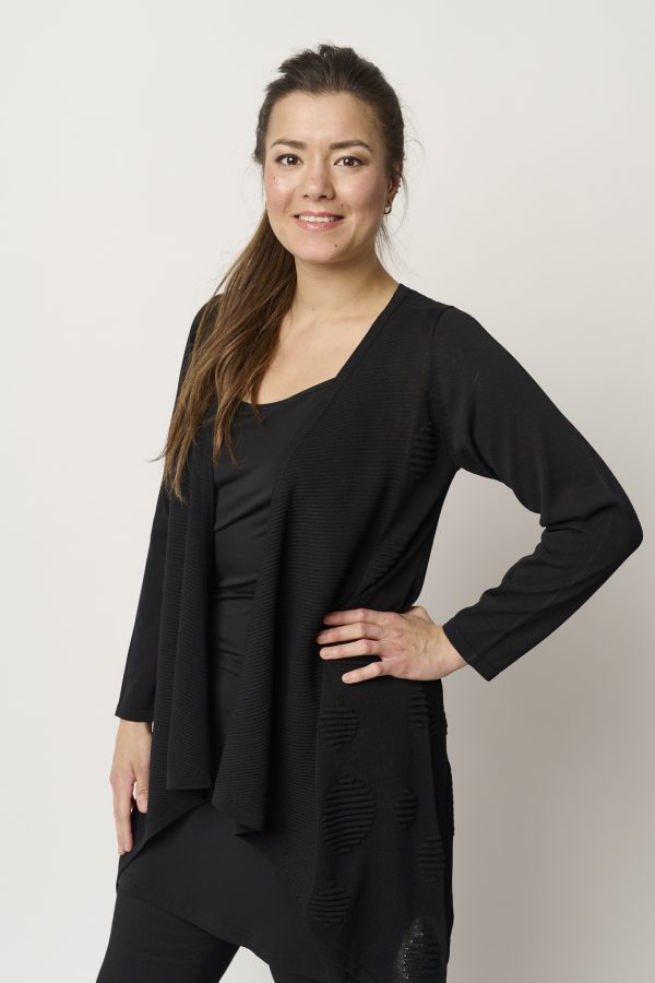 Model is wearing Pont Neuf Amicia waterfall cardigan in black