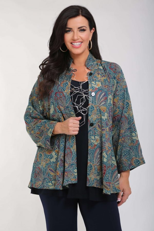 Model is wearing a paisley jacket in green pattern by Angel Circle